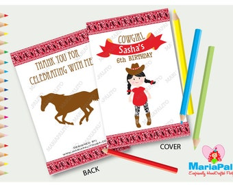 6 Cowgirl Coloring Books, Little Girl Pony Birthday Personalized Coloring Books Party Favors  A1292
