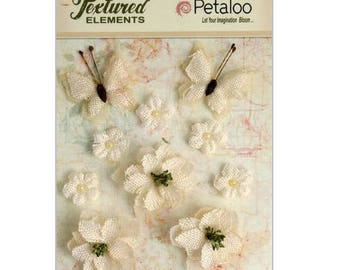 Set of 10 ornaments flowers, butterflies ivory fabric with Petaloo scrapbooking embellishment *.
