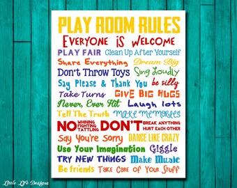 Playroom Rules Sign. Rainbow Playroom Sign. Playroom Decor. Playroom Wall Art. Playroom Wall Decor. Playroom Art. Play room rules sign. Art