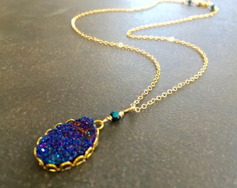 Titanium Druzy Necklace, Cobalt Blue Druzy, 14K Gold Filled, Cobalt Blue Pendant, Sparkly Necklace, Minimalist Layering, Gift for Her  1376