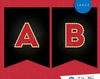 Large Red & Black Movie Marquee Themed Banner  :  Printable Banner All Letters 0-9 numbers