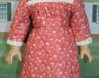 American Girl Style 1812 Day Dress in Dark Coral