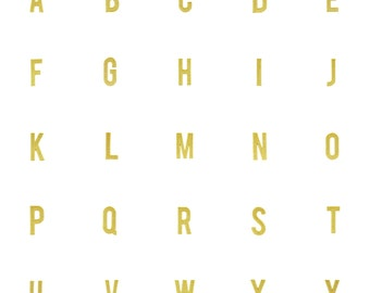 """Alphabet Letter Iron On Patch 2"""" 100% Embroidered Metallic Gold Modern, Clean, Sans Serif Font for Monogram or Personalizing"""