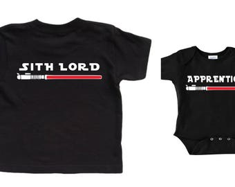 Star Wars Shirt Father Son Matching Shirts Jedi Darth Vader Fathers Day Gift Star Wars Baby Shower Gift Baby Clothes Sith Lord Apprentice