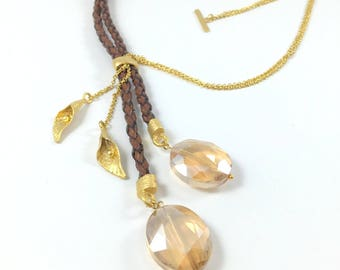 Crystal Necklace with Brown Genuine Leather Cord,Honey Crystal Necklace,Brown Leather Necklace,Long Crystal Necklace,Gold plated necklace