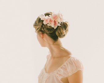 Silk flower headpiece, Ivory and Pink flower comb, Bridal hair accessory, Pink orchid clip, Off white bridal comb, Floral headpiece pink