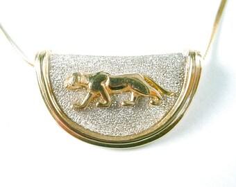 Vintage Bi-Color 14k Gold Panther Motif Slide Pendant