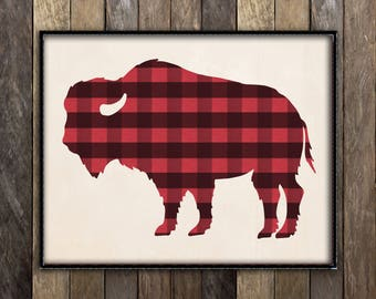 Buffalo Print, Rustic Home Decor, Buffalo Plaid, Rustic Nursery Print, Western Decor, Lumberjack Decor, Bison Head, Cabin Decor, Lodge Art