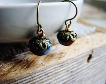 Beaded Earrings Czech Glass Beads Two Tones Blue Red Beads Antique Brass Minimalist Modern Fresh Two Tones