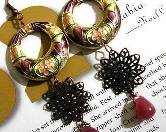 Cloisonne earrings with purple teardrop gemstone - handmade earrings