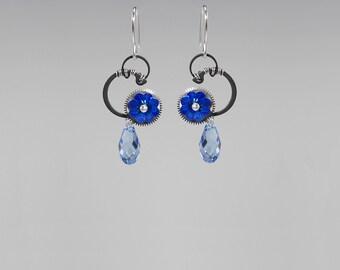 Steampunk Earrings With Blue Swarovski Crystals, , Sapphire Swarovski Crystal, Drop Earrings, Statement Earrings, Khloris v2