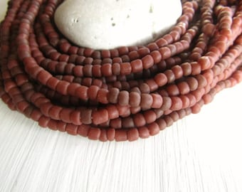 brown red  seed Beads, red brown glass beads, opaque small tube barrel spacer, indonesia, New Indo-pacific 3 to 6mm / 22 inch strd - 6BB1-56