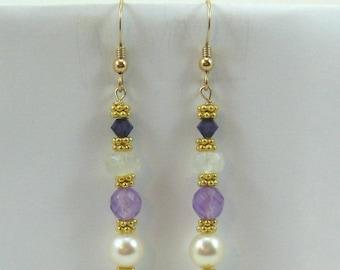 Amethyst, Pearl, Moonstone and Purple Swarovski Crystal Earrings (EV6)