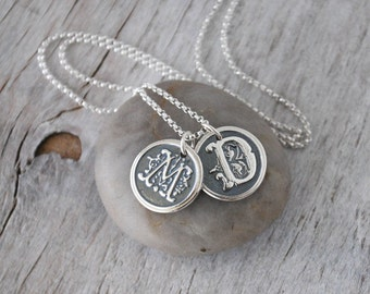Personalized Initial Necklace - Two Letter Silver Wax Seal Initials with Sterling Silver  Chain - Customized with Two Ornate Letters