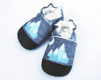 Eco-Canvas Vegan Mountains in Blue / non-slip soft sole shoes / made to order / babies toddlers preschool