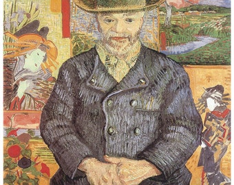 Hand-cut wooden jigsaw puzzle. PORTRAIT PERE TANGUY. Van Gogh. Impressionist. Impressionism. Wood, collectible. Bella Puzzles.