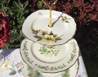 Large Vintage mismatched 3 tier cake stand, jewellery stand, Housewarming, Wedding, Baby Shower gift/Antique/Afternoon Tea,English China