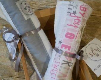 Burp Cloth Bundle- Contoured Burp Cloth - Baby Bib - Baby Burp Cloth and Bib - Bib and Burp Cloth Solid Grey & Girly Words