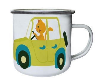 Cat driving car ,Tin, Enamel 10oz Mug v972e