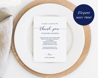 Navy Wedding Thank You Note, Thank You Card, Thank You Letter, In Lieu of Favor Card, Place Setting Card, PDF Template, Instant Download