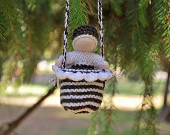 Waldorf doll Waldorf baby doll Waldorf inspired toys Pocket doll Knitted doll in a pouch Small knitted doll Necklace doll Tiny baby doll