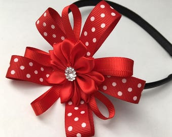 Snap and Switch Red and White Polk A Dot Hair Bow