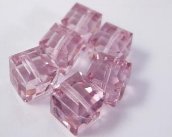 8mm Light Rose Pink Swarovski Crystal Cube Beads (Package of 6)