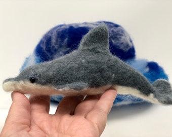 OOAK wet felted dolphin totem animal blue ocean wave soft sculpture unique marine gift centerpiece decor
