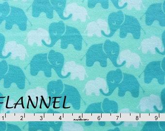Aqua Mint & Teal Elephant Flannel Fabric,  Camelot Imaginarium 2150008B 02, Baby Flannel Fabric, Cotton Flannel Yardage