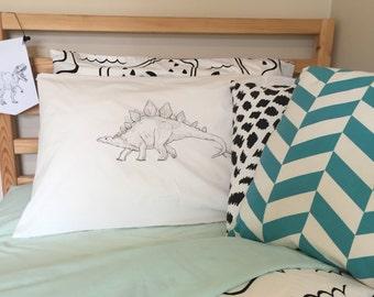 Dinosaur Stegosaurus Pillowcase - Black and White line drawing
