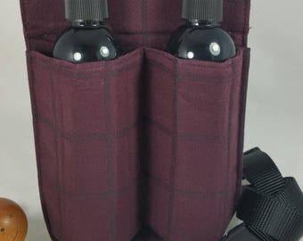 Massage Therapy Double 8oz bottle hip holster, maroon, black cross hatch, back pocket, black belt