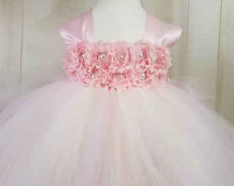 Flower girl dress - Tulle flower girl dress - Blush Dress - Tulle dress-Infant/Toddler - Pageant dress -Princess dress- Blush flower dress