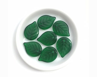 13x18 Dark Green Czech Glass Leaf, Leaf Charm, Leaf Pendant, Czech Glass Bead, Nature Jewelry, Leaf Jewelry, Beading Supplies, 15pcs, A0101F