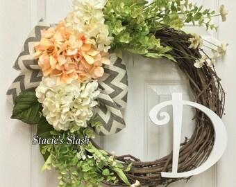 Spring Wreath, Front Door Wreath, Monogram Wreath, Summer Wreath, Initial Wreath, Letter Wreath, Hydrangea Wreath, Neutral Wreath, Door Deco