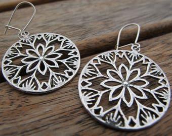 Silver Circle Earrings, Circle Earrings, Sterling Silver Earrings, Silver Dangle Earrings