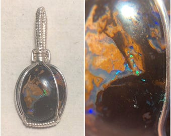 Sterling Silver Wire Wrapped Boulder Opal Pendant, Opal Wire Wrap, heady Wire Wrap, Wire Wrapped Opal, Wire Wrapped Jewelry