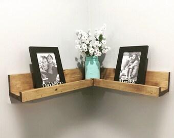 Corner Ledge Shelf,Corner Floating Shelf, Corner Picture Shelf,  Corner Gallery Shelf, Wall Shelf, Nursery, Bookshelf