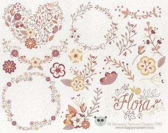 Flowers Clipart  Flora 03 Vector Graphics, Flower Clipart, Floral Clipart, PNG, Clip Art, Earth, Tones, Brown, Tan