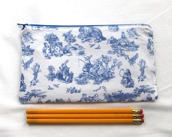 Toile Alice Fabric Zipper Pouch / Pencil Case / Make Up Bag / Gadget Sack