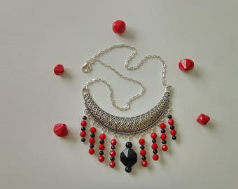 Black and Red ethnic bib necklace