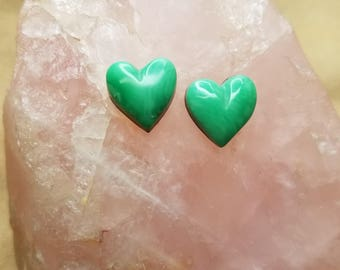 Green Varisite Heart Cabochon Pair/ backed