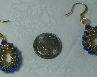 Blue and Gold Earring set
