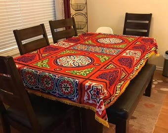 Ramadan-Eid Table cloth-Khaymah, Handmade Traditional Egyptian Tablecloth, Red