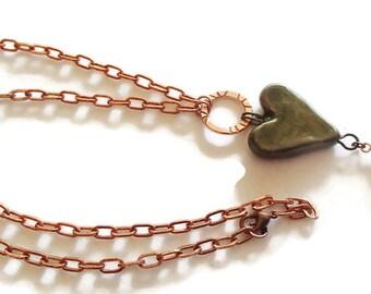 Ceramic Heart and Copper Necklace. Boho Valentine. Valentine Jewelry. N76