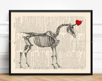 Unicorn Skeleton, Unicorn Red Heart, Gothic Girl Gift, Dorm Decor, Mythical Creature, Lesbian Couple Print, 1st Year Anniversary, 468