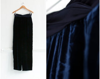 80s Mom Pants High Waisted Pants W27 Blue Velvet Pants High Waist 27 Baggy Pants Womens XS Velvet Trousers Midnigh Blue Wide Leg Pants W27