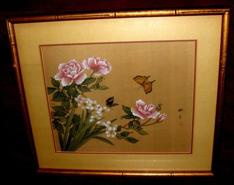Oriental Original Japanese Silk Watercolor Painting – Signed by Artist in calligraphy, seal stamped, Traditional Framing