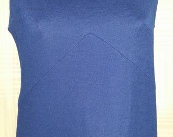 Vintage 60's Jonathan Logan Small Petite Dress Mod Shift Jumper Mini Navy Blue Knit Mary Tyler Moore Kitsch Retro GoGo