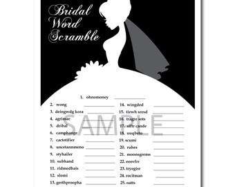 4 Black and White Orchid Bridal Shower Printable Games: Famous Couples,What's in your Purse Game, Word Scramble, Bridal Advice, ect