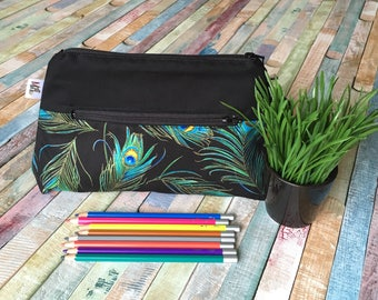 Peacock feather black pencil case, Colorful pocket for pencils, Black cosmetic Bag, Feather storage pouch, **customizable**